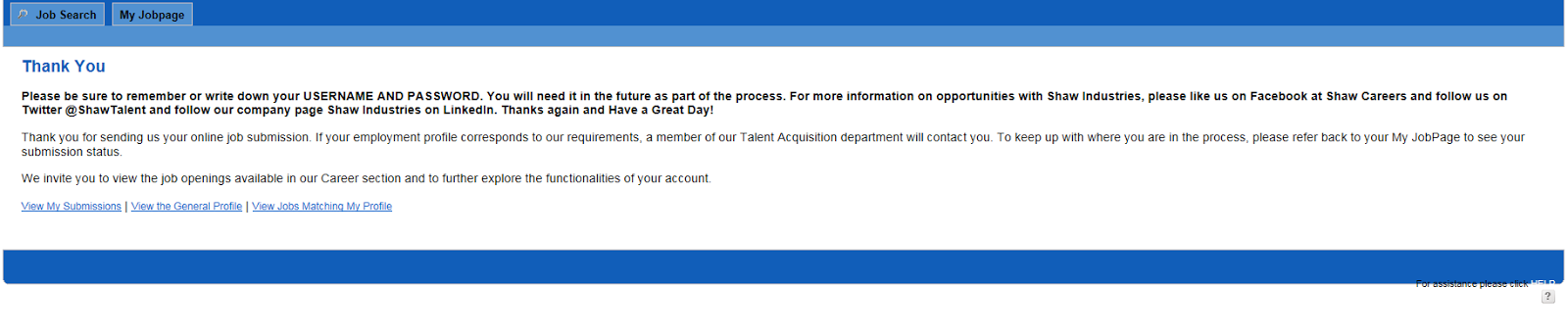 Shaw Job Application Thank You Screen